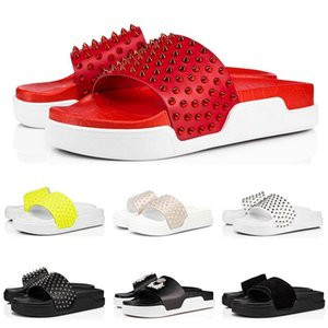 TOP Качество Модельер Тапочки Red Bottoms сандалии Шипы бассейн Fun Embellished шипованных Слайды Mens Slide House Платформа с BOX