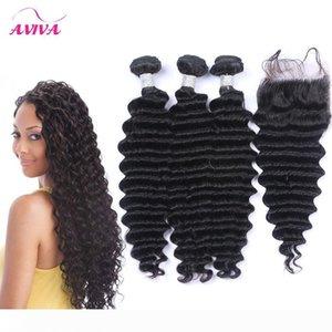 Brazilian Deep Wave Curly Virgin Human Hair Waves 3 Bundles With 1Pc Lace Closure Peruvian Malaysian Mongolian Cambodian Indian Hair Closure
