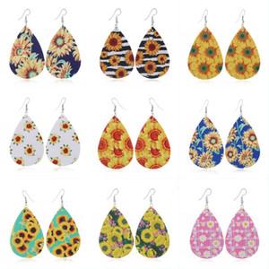 2020 orecchini di cuoio Nuovo Girasole Faux monili dell'orecchino di goccia creativo Teardrop Girasole Stampato ciondola gli orecchini moda per le donne U61FA