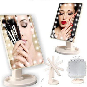 LED Touch Screen Makeup Mirror Professional Vanity Mirror With 16 22 LED Lights Health Beauty Adjustable Countertop 360 Rotating
