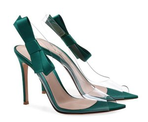 New Design Women Fashion Open Pointed Toe PVC Stiletto Heel Sandals Cut-out Transparent Bowtie High Heel Sandals Dress Shoes