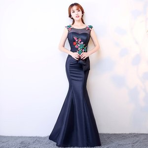 Blue Evening Cheongsam Long Traditional Chinese Vintage Dress Red Mermaid Wedding Gown Sexy Split Qipao Dresses Modern QLX