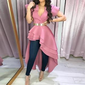 Summer Sexy Club офис Lady Pink Сладких Блузы одежда женщин 2019 Тонкие оборки Топы Elegant партия Африканского женщина мода рубашка
