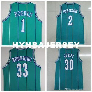 1. Muggsy Bogues 2. Larry Johnson # 33 Alonzo Mourning # 30 Dell SC Retro Yeşil Jersey, Retro Retro Basketbol Jersey Ncaa Koleji