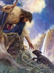 Nathan Greene THE RESCUE Jesus Erreichen für Schwarz verlorenen Lamm Hauptdekor handgemaltes HD-Druck-Ölgemälde auf Leinwand-Wand-Kunst-Leinwand-200227