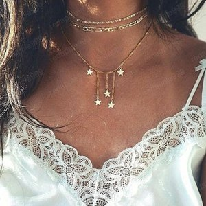Multilayer Pentagram Sequins Boho Necklaces Pandents Long Alloy Gold Chain Statement Necklace Collier Femme