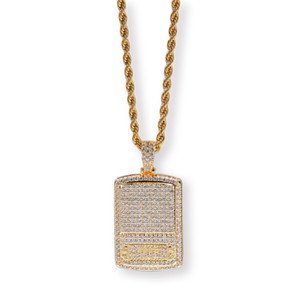 Digital Scale Pendant Necklace Gold Plated Copper Inlaid Cubic Zirconia Pendant 60cm Stainless Steel Chain Hip Hop Jewelry