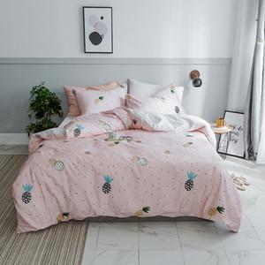 Lucky King Dreiteiliges Set aus hellrosa Baumwolle im Ananas-Muster-Stil Bettwäscheset Natural Ultra Soft Home für Bettwäschesets für Erwachsene