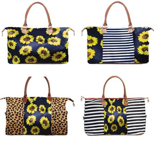 5 Styles Weekend Bags Sunflower Printed Handbags Floral Duffel Bag Leopard Travel Bag Girl Canvas Handbags with sea shipping CCA12137
