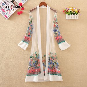 Lusumily New Women Floral Embroidered Long Jacket Cardigan Casual Open Stitch Thin Coats Ladies Vintage Beach White Outerwear