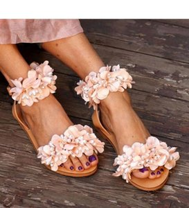 Designer Shoes Summer Flat Sandals Women Flowers Handmade Shoes Beaded Pearl Lady Beach Flip Flops Pink Sweet Sandals