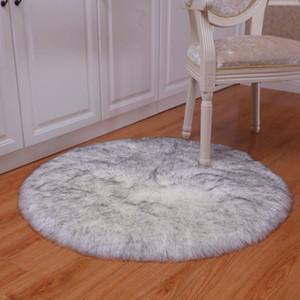FBC19011005 Plush Carpet Atificial Wool Round Floor Mats Bedroom Bedside Blanket For Window Home Round Blanket