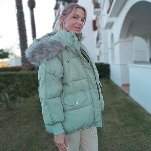 Giacche invernali spessa incappucciata inverno caldo cappotto di Orwindny donna breve Giù parka Donna Jacket Big Fur Coat Cotone PIUMINI