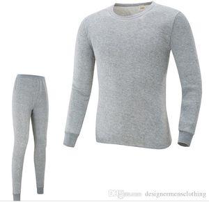 Sonbahar İlkbahar O yaka t shirt pantolonları 2adet Pijama Takımları İç Sıska Kış Sıcak Underwears Erkek Pijama Takımları