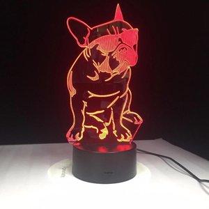Moda Cool Dog 3d lampada di 7 colori LED Notte lampade per i bambini di tocco LED USB Tabella Lampara Lampe bambino che dorme Nightlight Jk0135