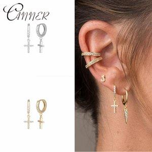 CANNER Fashion Kreuz Runde Ohrstecker für Frauen-Männer Dropping Rhinestone-925 Sterlingsilber-Ohrringe Korean Schmuck