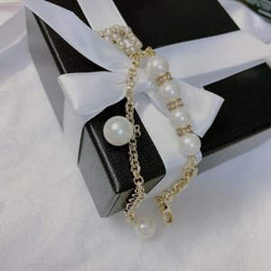 C2170 Feminine charm elegance style bracelet high quality imitation pearl letter chain girls party with jewelry gift box