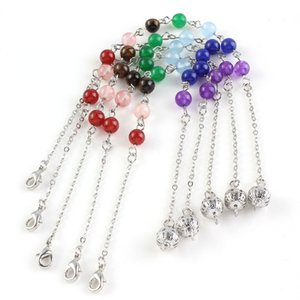 10 Pcs Silver Plated Many Colors Quartz Stone Round Beads Pendant Link Chain Necklace Healing Chakra Fashion Jewelry