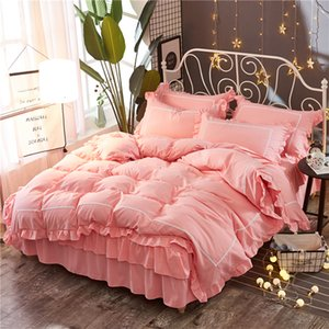 Pink Lace Princess Wedding Bedding sets High quality Home Textile Queen King size fashion Duvet cover set Bed skirt Pillowcases T200706