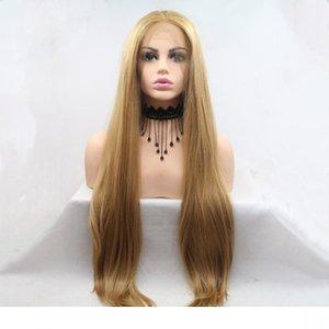 Frente del cordón de las pelucas sintéticas a prueba de calor Rubio miel aspecto natural sin cola larga recta de alta temperatura de la fibra sintética de pelo wigss