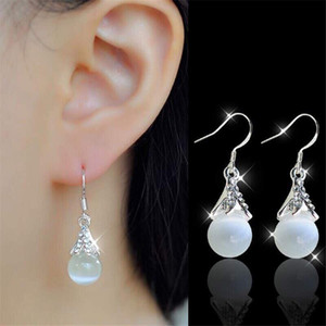 새로운 일본과 한국 스타일의 귀걸이 기질 쥬얼리 패션 다이아몬드 간단한 오팔 귀걸이 도매 무료 배송