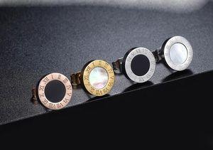 designer di gioielli di lusso delle donne orecchini 18 carati Orecchini uomini oro acciaio inossidabile con Onyx e Shell rock punk regalo di nozze rotonda