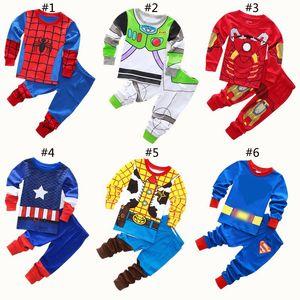 Toptan Bebek Superhero karikatür Pijama Çocuk Kaptan Uzun Kollu + Pantolon 2pcs / set Kıyafetler çocuklar tasarımcı kıyafetleri erkek takımları BY1416 Tops