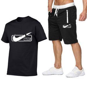 Mens T Shirt vestito Designer + bicchierini di estate a maniche corte tuta Palestre Casual Male maglietta 2 pezzi Marca Abbigliamento taglie S-2XL