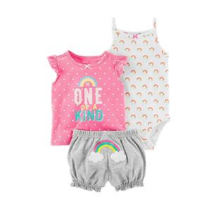 패션 2018 Orangemom 여름 짧은 소매 아기 아기 소녀 옷 세트, 3pc 면화 여자 의류 세트 유아 아기 의류 Y190515