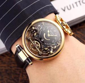 Nueva Bovet Fleurier Amadeo Grand complicaciones Virtuoso Rose esquelético del oro esfera blanca del reloj para hombre de la correa de cuero de Brown relojes deportivos