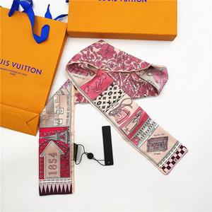Роскошная мода новая печать ручка сумка ленты бренд маленький шелковый шарф для женщин мода головной платок маленькие длинные тощие шарфы оптом