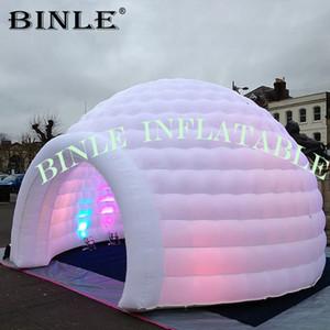 المجال 6M-8mD ديسكو الأبيض للنفخ خيمة قبة مع الصمام الاضواء الخيام حزب القباني للنفخ لأحداث باب 1