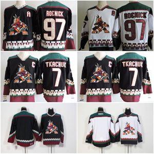 Uomini Arizona Coyotes Jeremy Roenick Hockey pullover # 7 Keith Tkachuk # 27 Teppo Numminen Phoenix Coyotes 1990 Nero Vintage Jersey Classic