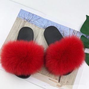 Children Girls A3120 Real Slippers Kids Winter Fur Child Slipper Slides Indoor Sliders Raccoon Fluffy Chinelo Flats Beach Fox New INS H Lnjc