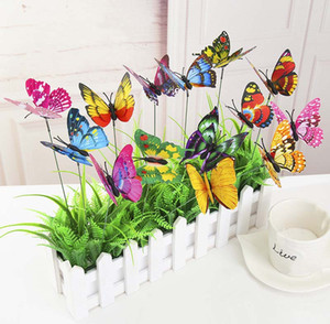 15Pcs 7cm 더블 데크 3D 시뮬레이션 나비 다채로운 정원 장식 나비 삽입 막대 나비 장식