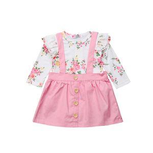 2PCS Pudcoco Toddler Baby Girls Outfits Ropa Camiseta Tops Correa Vestido Conjuntos de falda
