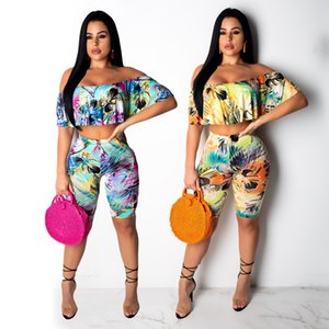 Women Floral Two Piece Outfits Print Summer Fashion 2 Piece Set Ruffle Crop Top Cpris Set Lady Casual Short Pantsuits Yellow Blue
