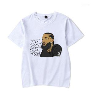 Mens Summer White Printed Casual Street Basic Tees Short Sleeved Hombres 2019 nipsey hussle Rap Tshirts