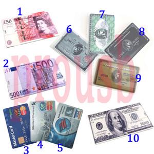 10PCS 1GB 2GB 4GB 8GB 16GB Credit Card USB Flash Drive USD POUNDS EUR EXPRESS Bank Card 10 Patterns Choices True Storage