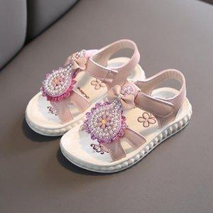 여자 꽃 샌들 진주 공주 여자 아이 샌들 달콤한 꽃 어린이 여름 해변 신발 신발 2020 새로운 브랜드 # 0611g30