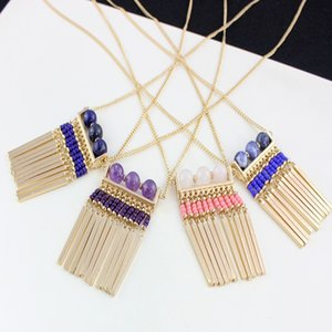 Bohomian Art Art und Weise Gold Natürlich Lapislazuli Halskette Perlen Quaste Halskette für Frauen-Schmucksachen