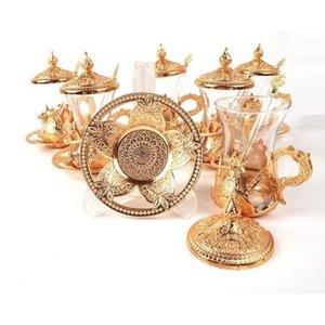 Handmade cobre-prata-Golden Otomano Turco Árabe copos de chá turco Tea Coffee Cups Set (Com Colher presente) feita na Turquia