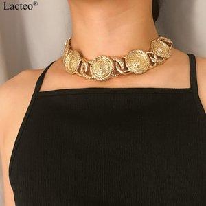 Lácteo punk d'oro / argento intagliato Moneta Viso Girocollo Neckalces Donne modo esagerato robusta catena femminile gioielli