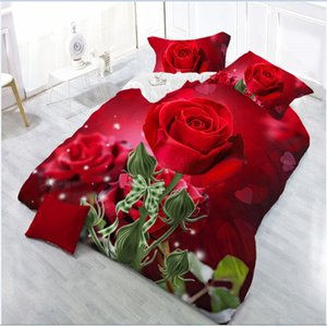 Fashion 3d bedding sets  bed Quilt Duvet Cover Pillow Case Flowers Printed Bedding Set Winter Twin Queen Without Comforter