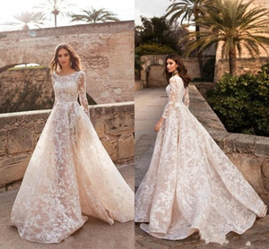 2020 New Champagne Sheer A Line Wedding Dresses Scoop Neck Long Sleeves Full Lace Appliques Button Back Sweep Train Formal Bridal Gowns