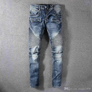 2020SS Hip-Hop Men's Wear Light Blue Hole Jeans Hole Zipper Fashion Denim Men's Decoration Hole Jeans Men's Pants py07