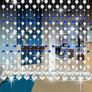 Crystal Glass Bead Leash Cortina de luxo 1M Comprimento Quarto Cafe da porta janela Pingente Beads cortinas ornamento de vidro transparente