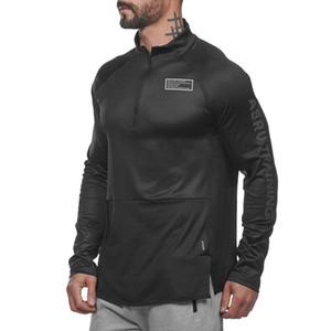 ASRV Koşu Ceket Erkekler Spor Ceket Spor Uzun Kollu Kapşonlu Sıkı Hoodies Ince Yürüyüş Tişörtü Erkek Spor Eğitim Ceketler T190914
