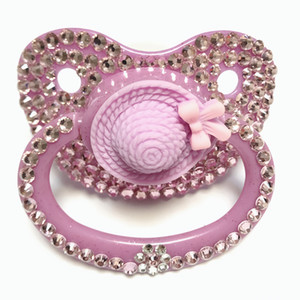 MIYOCAR unique handmade bling pink hat adult pacifier Adult Sized Cute Gem Pacifier Dummy ABDL Silicone Nipple
