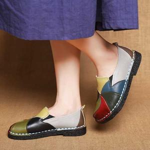 Mulheres Loafers Mocassins bailarina Sapatos Mulheres Couro Deslizamento-em Ballet Toe Flats handmade rodada Flor Sapato Feminino